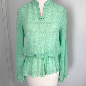 Sheer Mint Peplum Blouse with Red Polka Dots